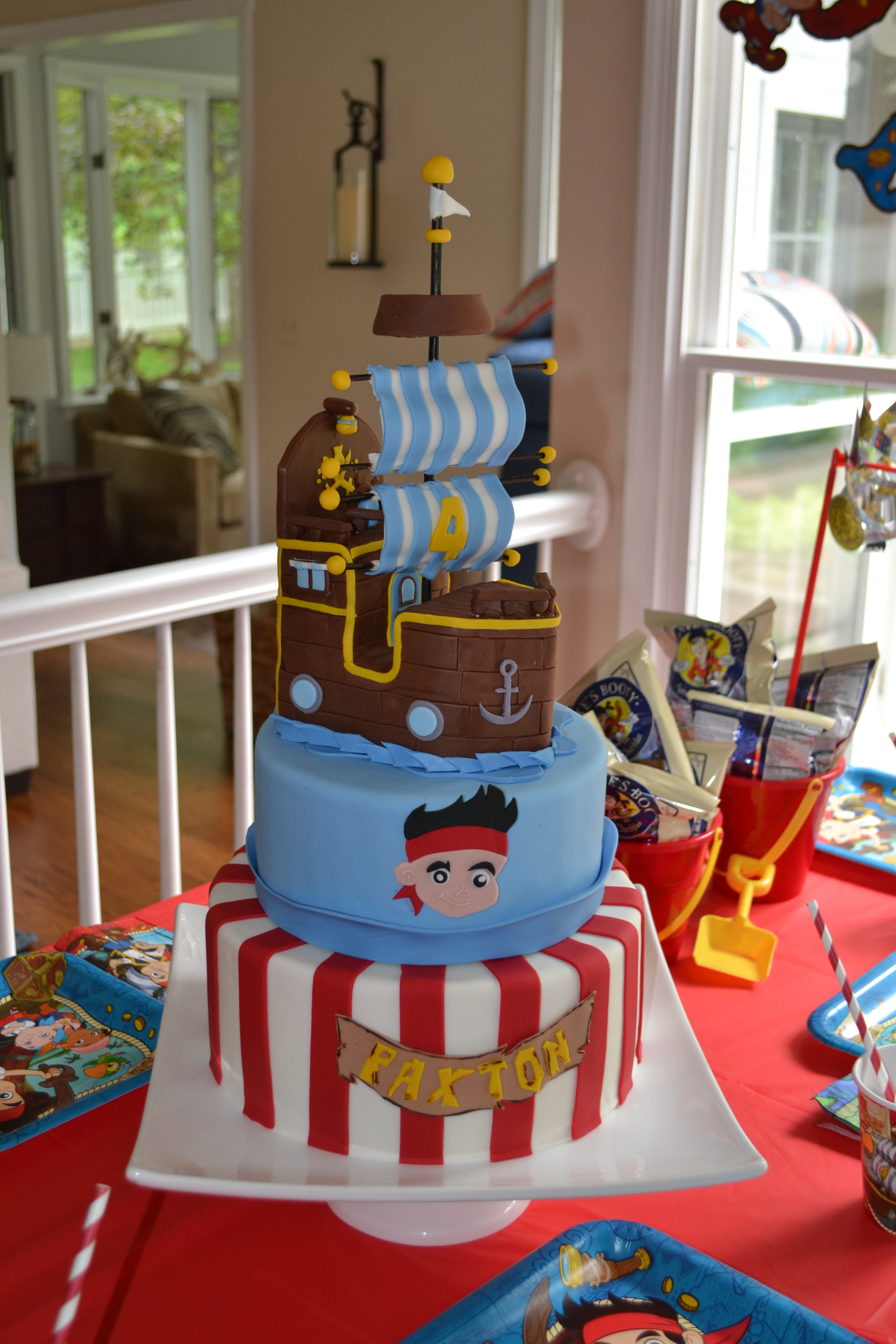 Astounding Jake And The Neverland Pirates Cake Funny Birthday Cards Online Inifodamsfinfo